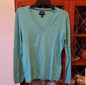 NWOT- Tommy Hilfiger Light Blue V-Neck Ivy Sweater